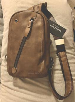 Alena Carter Leather Collection Sling Brown Backpack With Us
