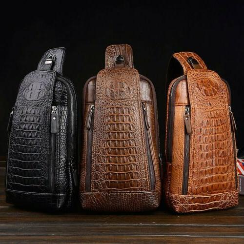 style men s leather chest sling bag
