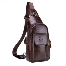 Leather Sling Bag Chest Pack Daypack for Men Camping Crossbo