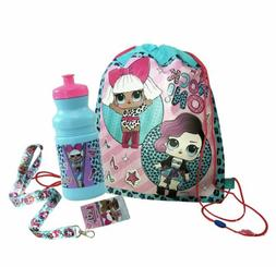 LOL Surprise Non Woven Sling Backpack W/ Water Bottle & Lany