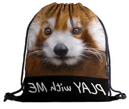 Lonely Raccoon play with me Backpack Drawstring Sling Tote G