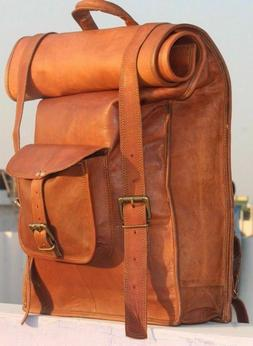 Men's Leather Laptop Backpack Shoulder Messenger Bag Rucksac