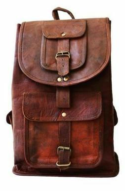 Men's Leather Vintage Backpack Shoulder Bag Messenger Bag Ru