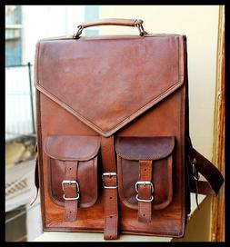 Mens Leather Laptop Vintage Backpack Shoulder Messenger Bag