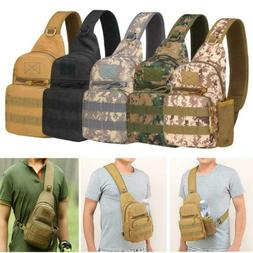 Mens Molle Tactical Backpack Sling Chest Pack Shoulder Bag O