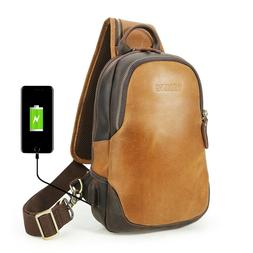 Men's Real Leather Sling Chest Bag Sport Pouch Crossbag Ba
