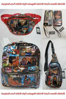 New Michelle Obama Clutch Wristlet Magazine Style Backpack W