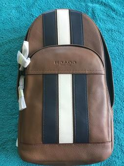 New authentic Coach f49318 Men Houston sling pack with varsi