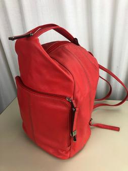 New Tignanello Leather Poppy Red Backpack Organizer Sling Pu
