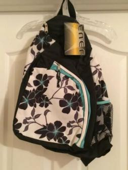 NWT FUEL Backpack Sling Style Black Grey White Floral Blue T