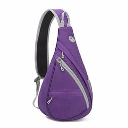 Purple Backpack Chest Shoulder Small Bag Sling Cycling Trave