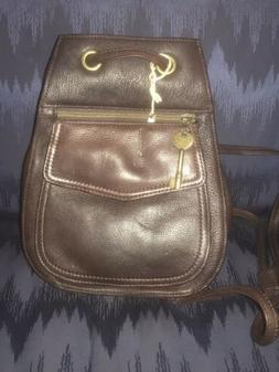 Rare Vintage FOSSIL #75082 Brown Leather Sling Backpack Purs
