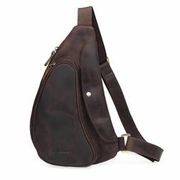 Real Leather Small Sling Chest Bag For Men Shoulder Sports P