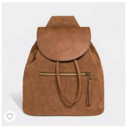 Universal Thread Sling Backpack Faux Leather Cognac Brown Zi