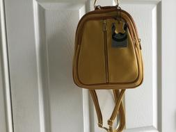 Valentina Borse Gold Mustard Yellow Leather Sling Backpack M