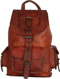 Women's Vintage Leather All Laptop Day-pack Backpack Shoulde