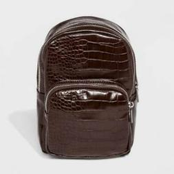 Wild Fable Womens Convertible Backpack Brown Snake Embossed