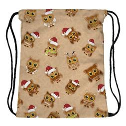 XMAS gingerbread owls Backpack Drawstring Sling Tote Gym Cas
